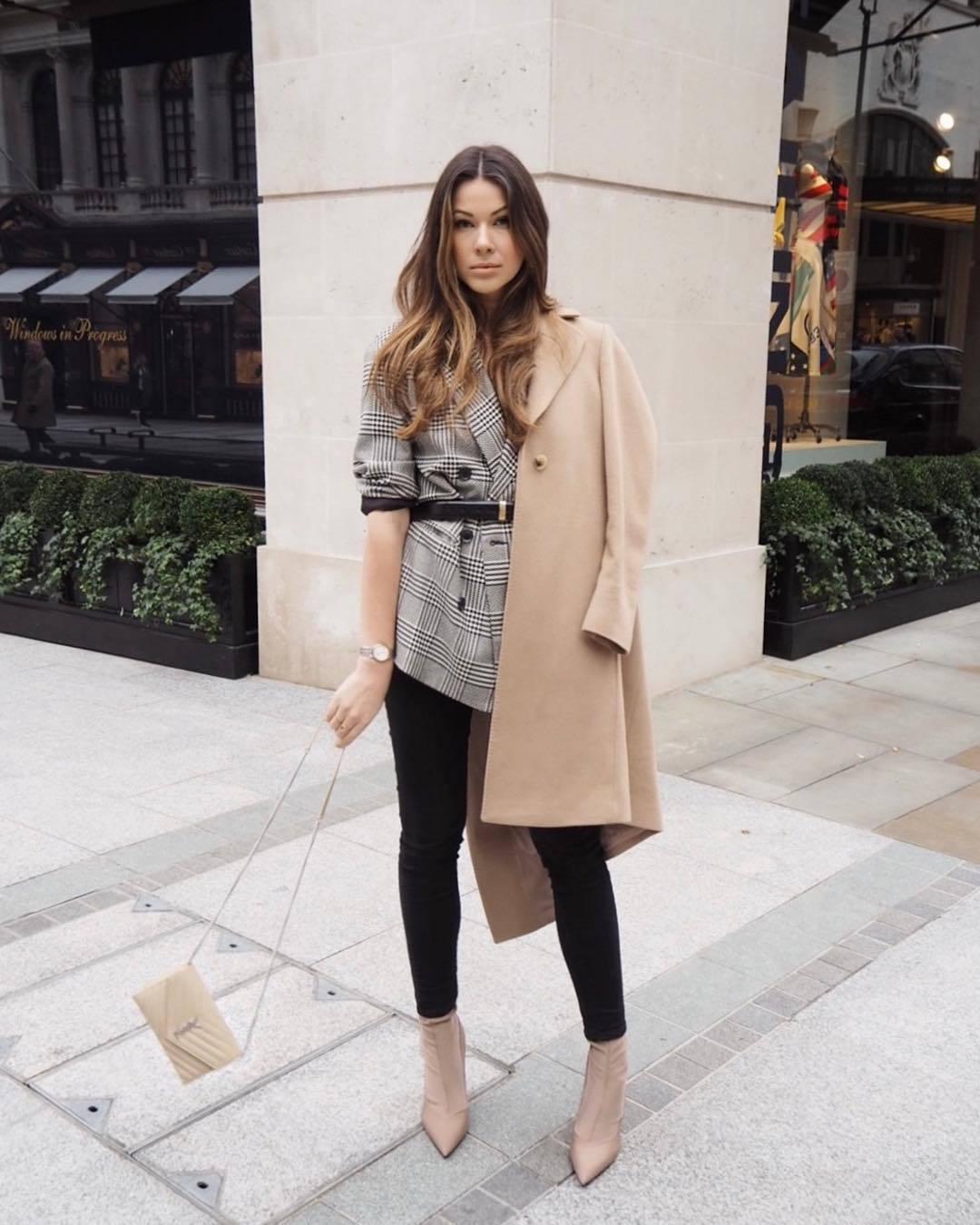 jacket blazer plaid blazer grey blazer double breasted oversized ankle boots heel boots ysl bag camel coat black belt
