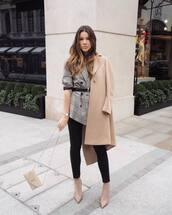 jacket,blazer,plaid blazer,grey blazer,double breasted,oversized,ankle boots,heel boots,ysl bag,camel coat,black belt