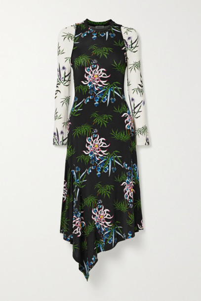 KENZO - Asymmetric Floral-print Stretch-jersey Dress - Black