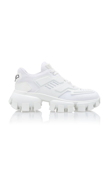 Prada Two-Tone Mesh And Rubber Sneakers Size: 36 in white