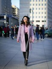 samieze,blogger,coat,sweater,shoes,bag,lavender,spring outfits,ankle boots,leather pants