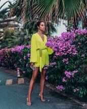 dress,mini dress,wrap dress,long sleeve dress,handbag,sandals