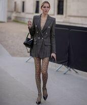 dress,blazer,plaid,tights,pumps,black bag