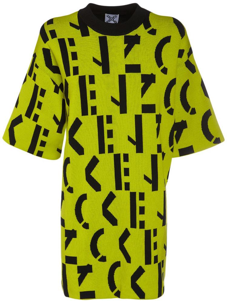 KENZO Monogram Cotton Blend Mini T-shirt Dress in black / green