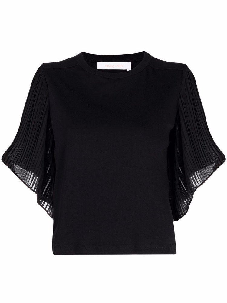 See by Chloé See by Chloé pleated-detail short-sleeved blouse - Black