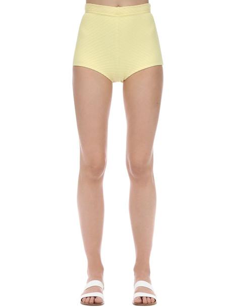 PEONY Banana High Waist Ribbed Shorts in yellow