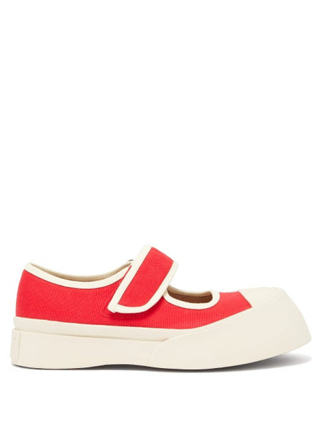 Marni - Exaggerated Mary-jane Canvas Trainers - Womens - Red