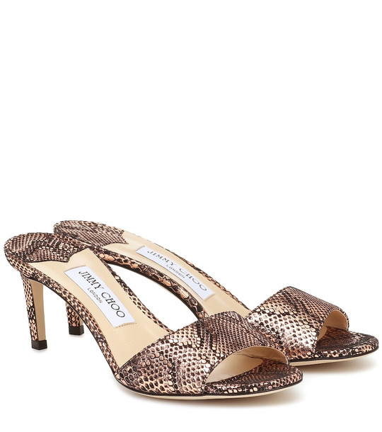 Jimmy Choo Stacey 65 snake-effect sandals in metallic