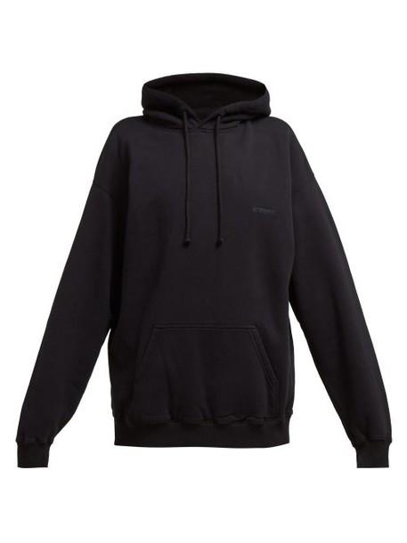 Vetements - Cut Out Elbows Cotton Hooded Sweatshirt - Womens - Black