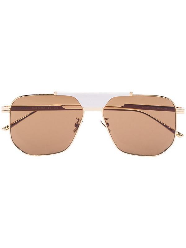 Bottega Veneta Eyewear geometric aviator-frame sunglasses in gold