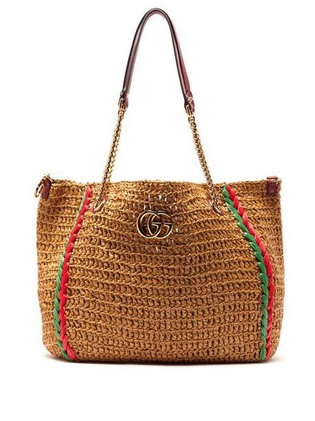 Gucci - Large Gg Marmont Macramé Tote Bag - Womens - Beige Multi