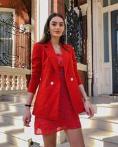 dress,mini dress,red dress,floral dress,short sleeve dress,blazer