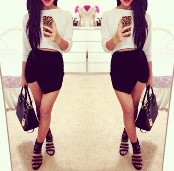 blouse skirt shoes bag