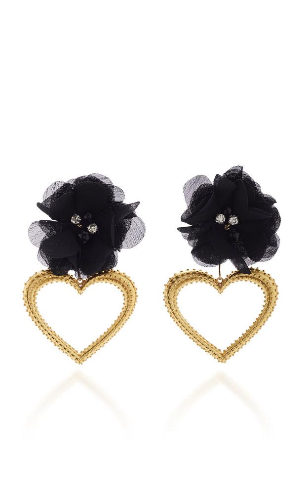 Mallarino Margot 24K Gold Vermeil, Silk and Crystal Earrings in black