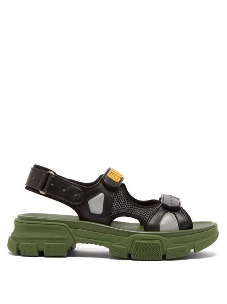 Gucci - Aguru Leather And Mesh Sandals - Womens - Black Green
