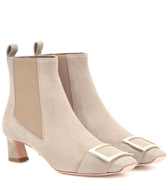 Roger Vivier Chelsea Trompette suede ankle boots in beige
