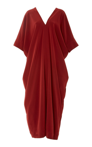 Co Draped Crepe Maxi Dress Size: XL in red