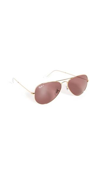 Ray-Ban 58 RB3025 Classic Aviator Sunglasses in gold / purple