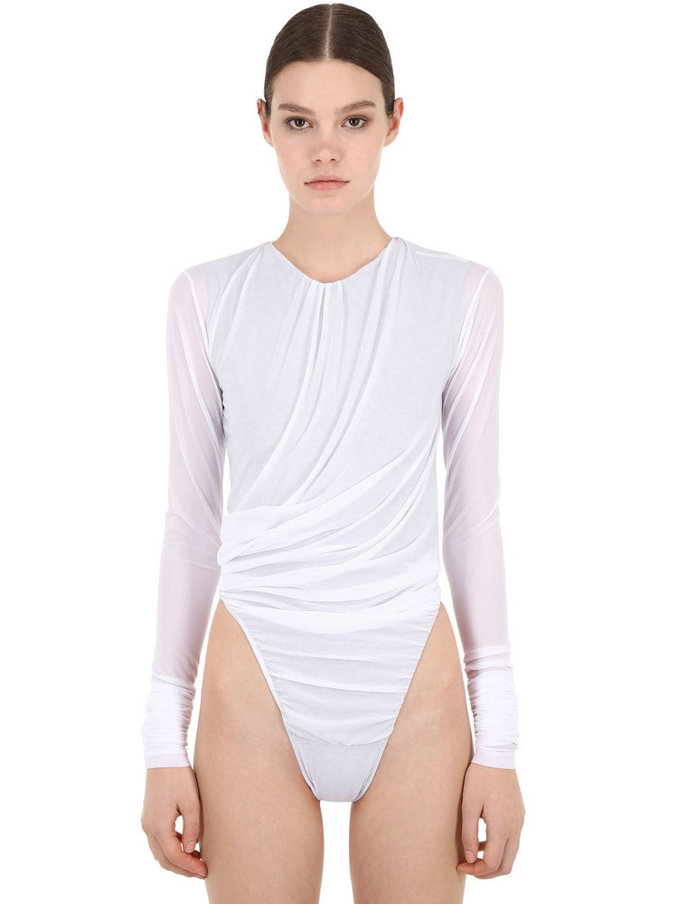 Y PROJECT Sheer Lycra & Cotton Jersey Bodysuit in white
