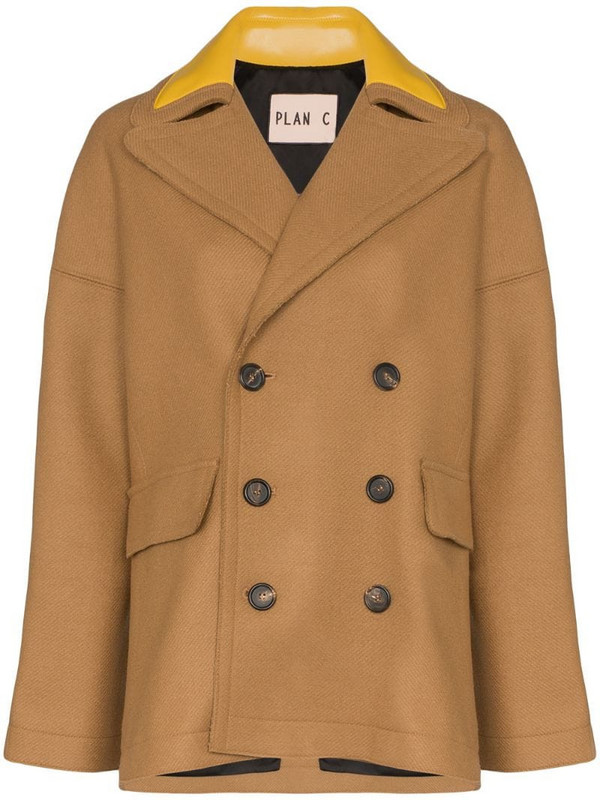 Plan C double-breasted peacoat in brown