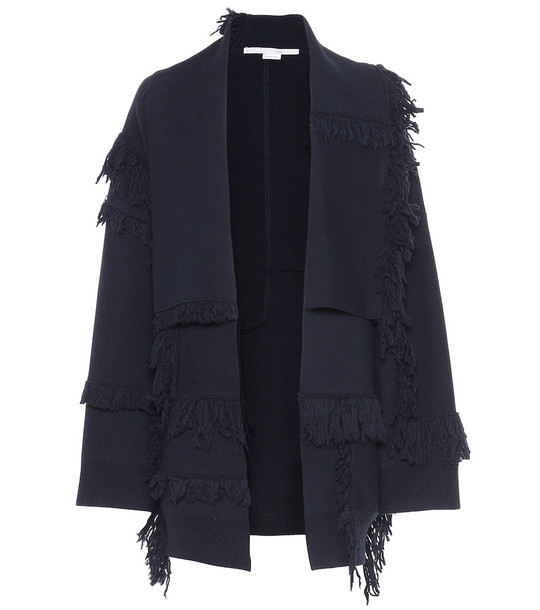 Stella McCartney Fringe-trimmed wool cardigan in blue