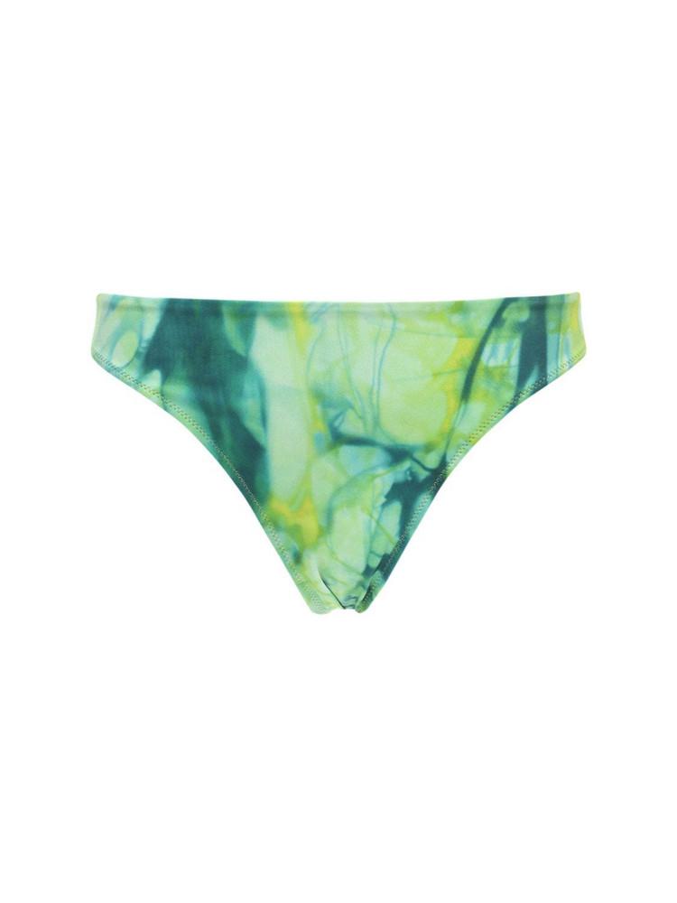 VERSACE High Waist Printed Lycra Bikini Bottoms in green