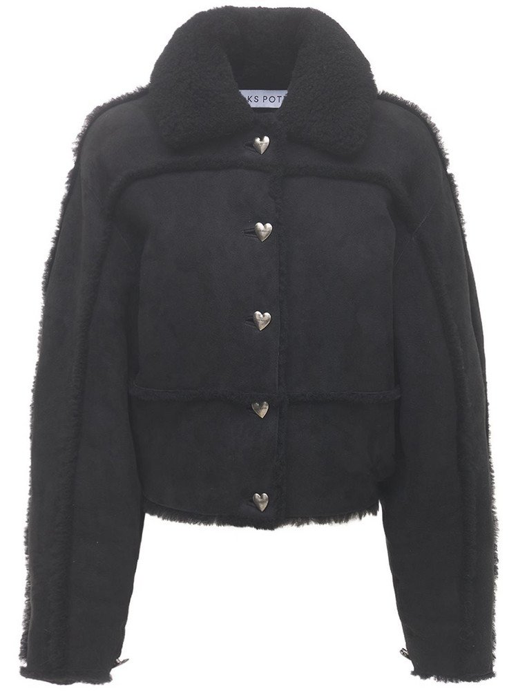 SAKS POTTS Khalo Cropped Shearling Jacket in black