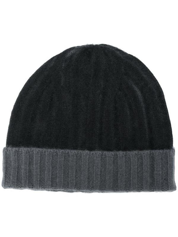 Warm-Me Joseph two-tone cashmere beanie in black