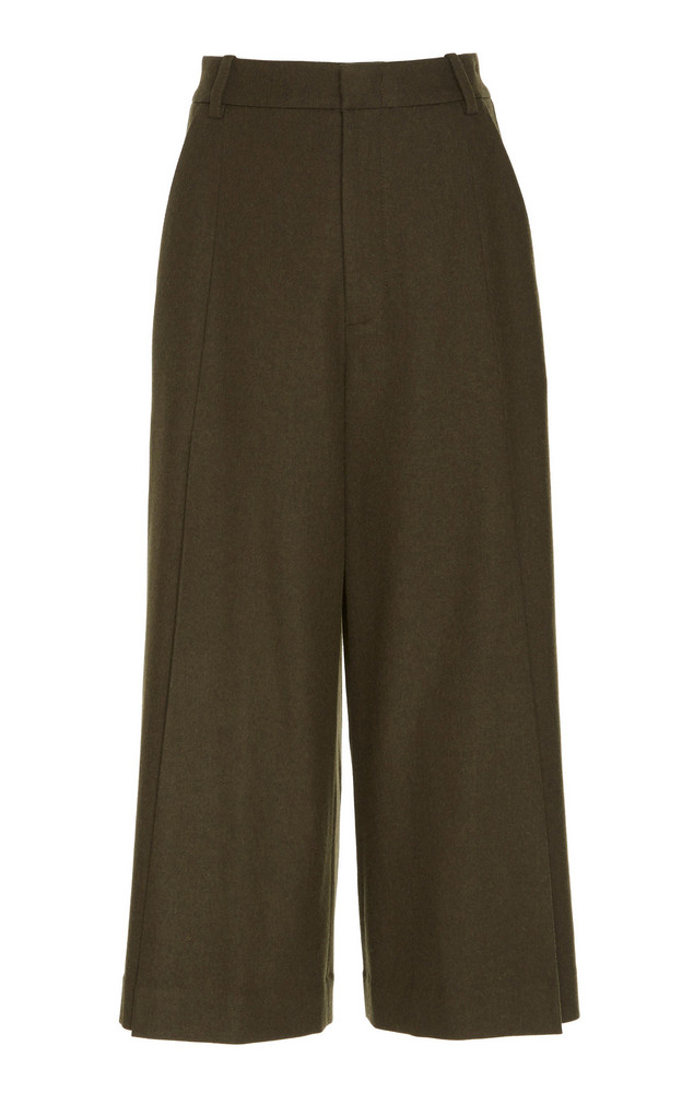 Vince Pleated Crepe Wide-Leg Culottes in green