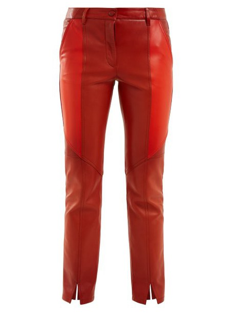 Givenchy - Contrast Panel Skinny Leather Cropped Trousers - Womens - Orange