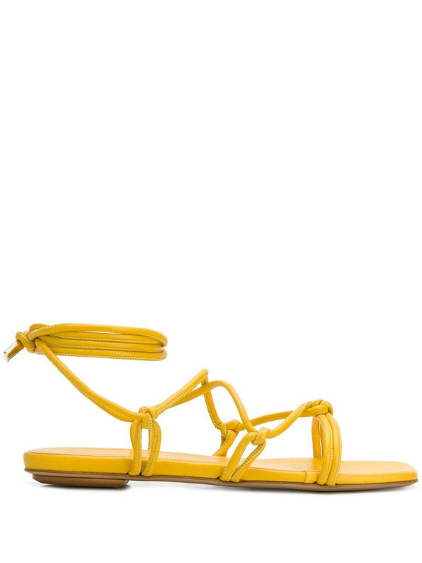 Gia Couture Bella flat leather sandals in yellow