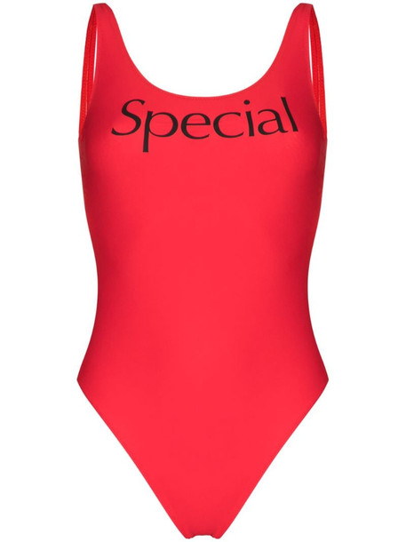 More Joy Special logo print swimsuit in red