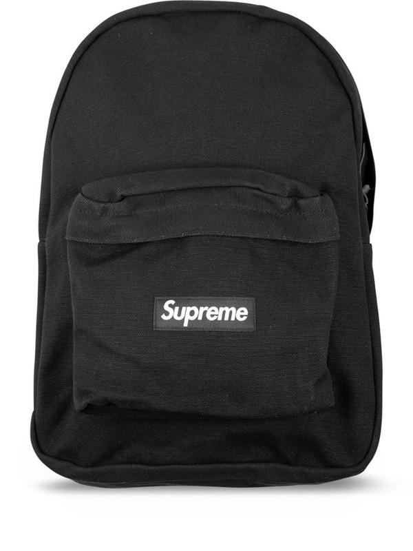 Supreme logo canvas backpack in black