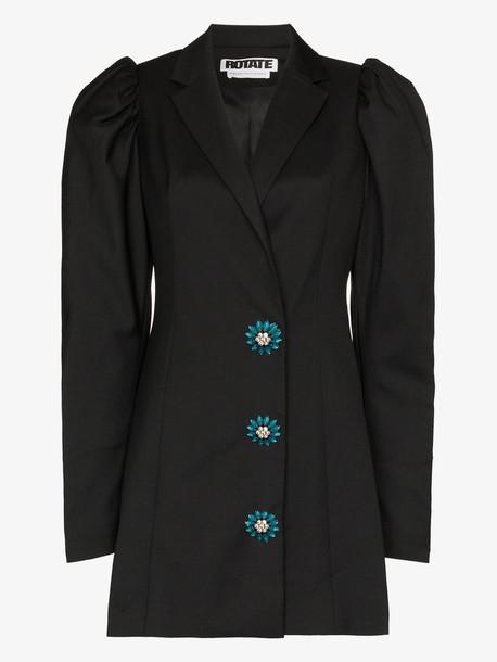 ROTATE carol crystal button blazer dress in black