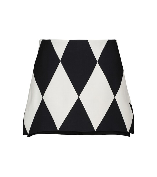 Valentino Patterned wool and silk skort in white