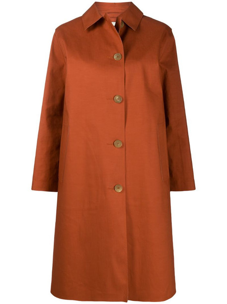 Mackintosh Garmony single-breasted coat in orange