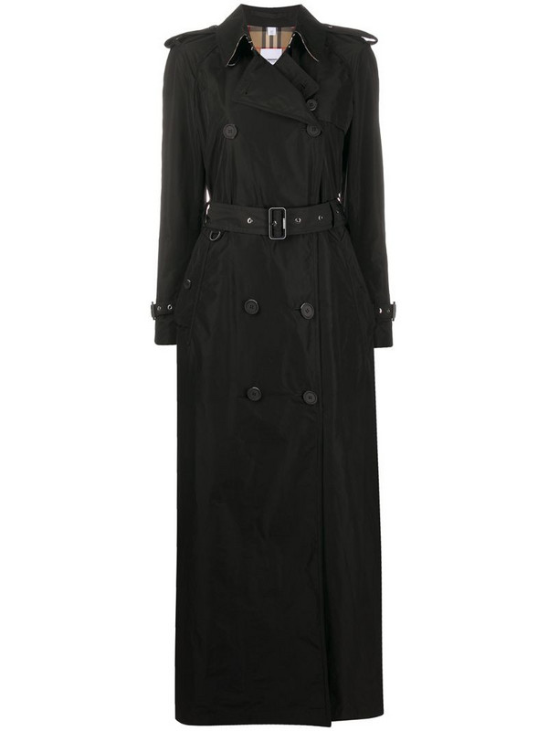 Burberry long trench coat in black