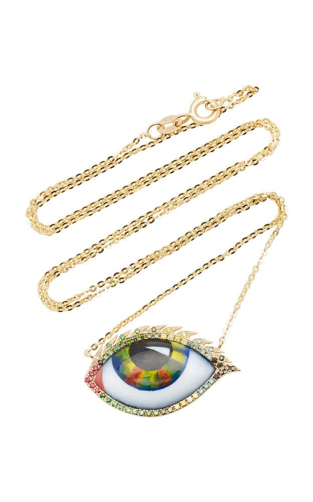 Lito 14K Yellow Gold, Ruby, Tsavorite, and Diamond Eye Necklace in multi