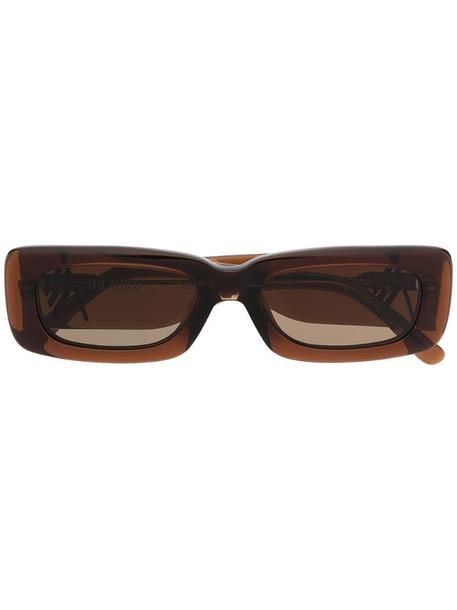 Linda Farrow x The Attico rectangular frame sunglasses in brown