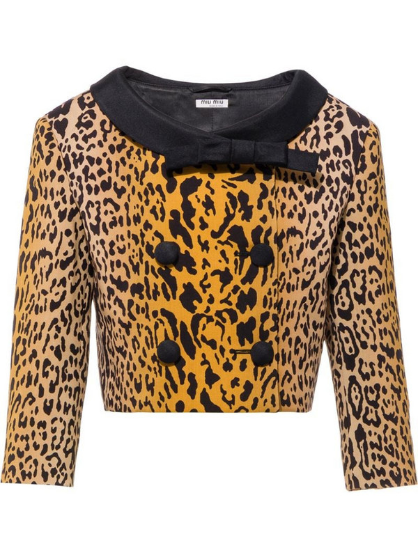 Miu Miu double-breasted leopard pattern jacket in brown