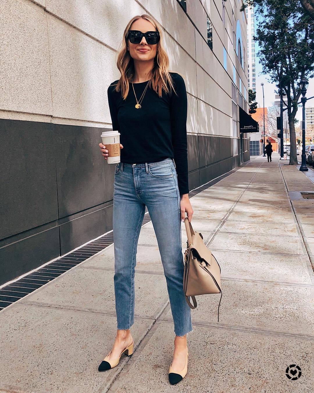 jeans high waisted jeans cropped jeans slingbacks shoulder bag black sweater black sunglasses