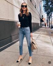 jeans,high waisted jeans,cropped jeans,slingbacks,shoulder bag,black sweater,black sunglasses