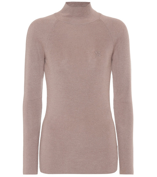 Fendi Wool, silk and cashmere sweater in brown
