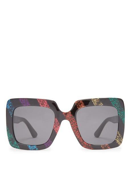Gucci - Square Frame Glitter Acetate Sunglasses - Womens - Black Multi
