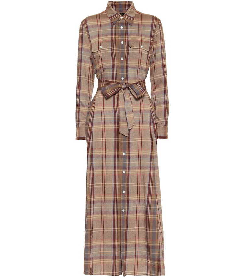 Polo Ralph Lauren Checked flannel maxi dress in brown