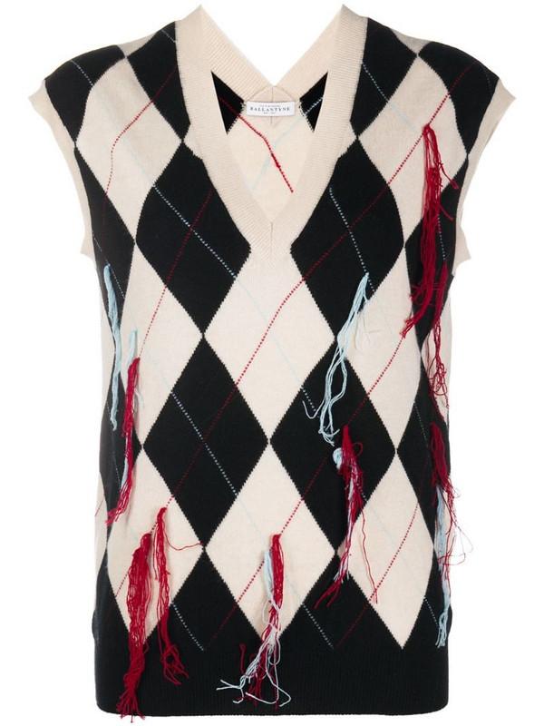Ballantyne fringe-detail Argyle vest in black