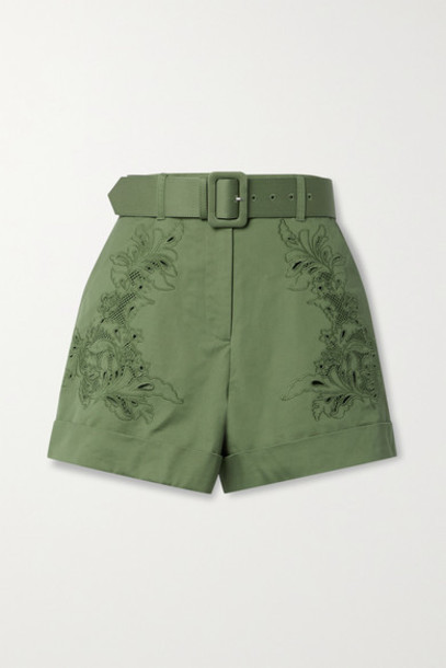 Self-Portrait - Belted Broderie Anglaise Cotton-twill Shorts - Army green