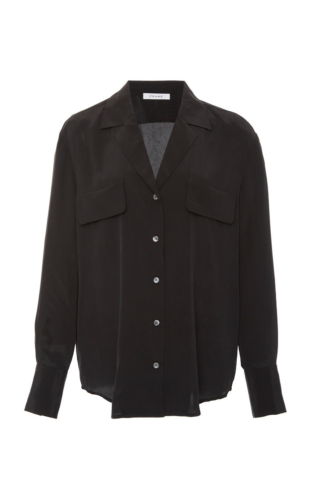 FRAME Silk-Crepe Top in black