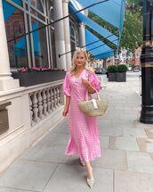 dress,pink dress,midi dress,polka dots,short sleeve,woven bag