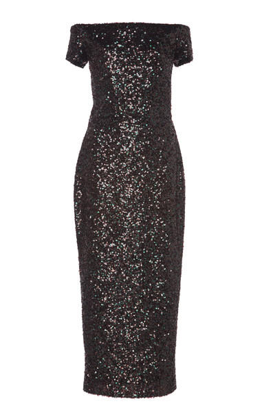 Martin Grant Off-The-Shoulder Sequin Sheath Dress in black